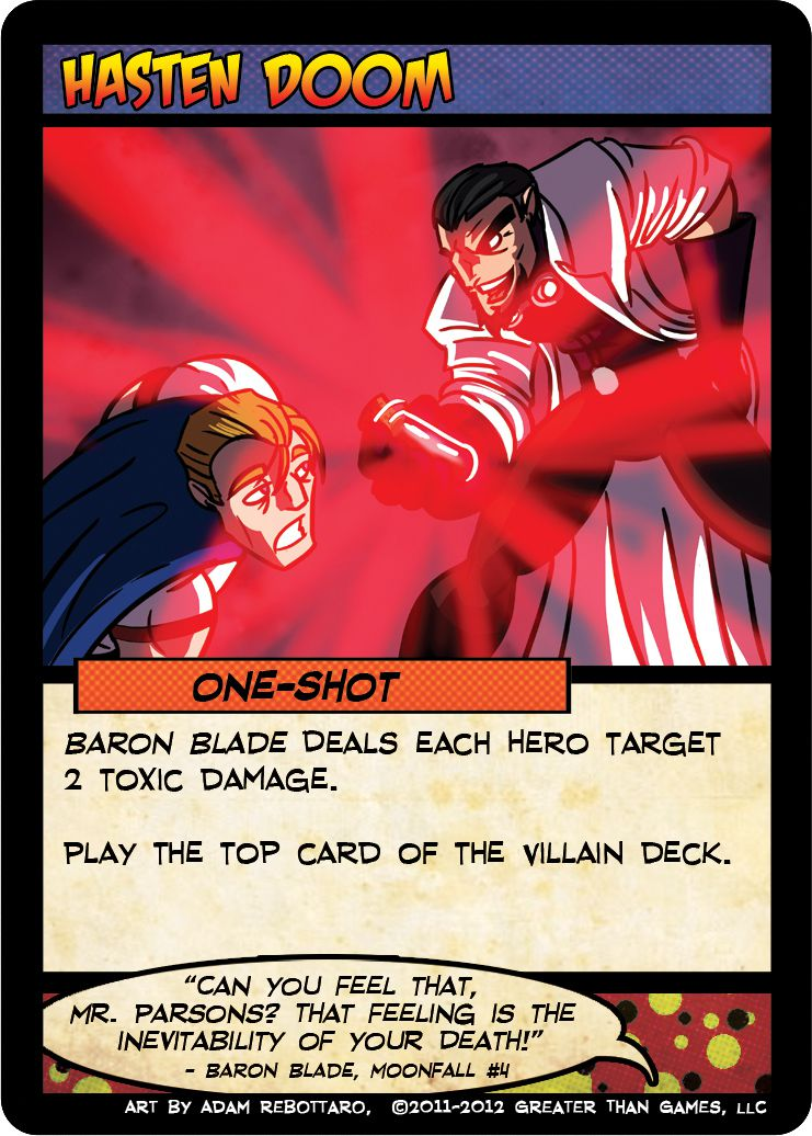 A villain stands above a caped hero, holding a glowing vial.