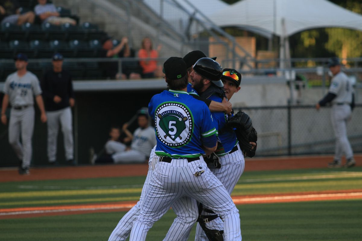 Eugene Emeralds players celebrate their no-hitter