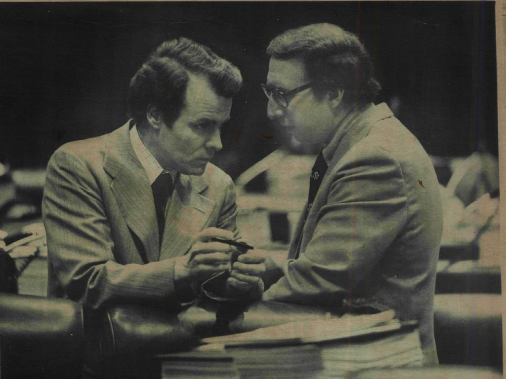 Mike Madigan, then an assistant majority leader and close ally and close ally of Mayor Richard J. Daley talks with Rep. Arthur Berman in Springfield in 1976. Sun-Times file photo.