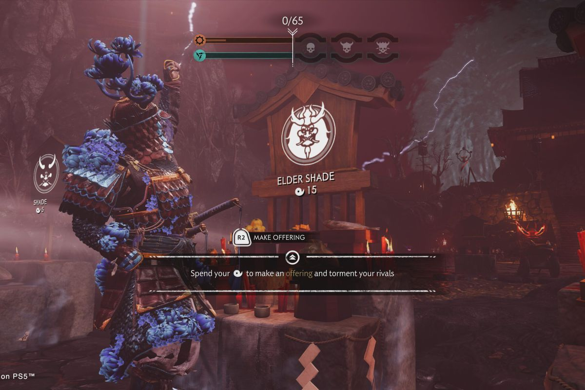 """a screen in Ghost of Tsushima Legends, showing a player spending Magatama to """"torment your rivals"""" in the new Rivals mode."""
