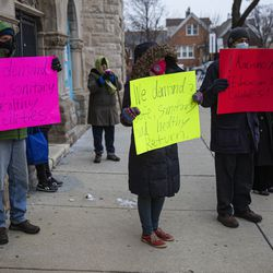 Parents of students returning to school protest the unsafe conditions amid the pandemic outside of Whittier Elementary School at 1900 W 23rd St in Heart of Chicago, Monday, Jan. 11, 2021.
