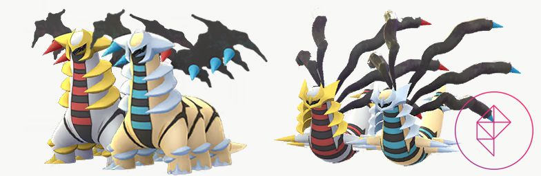 Shiny Giratina with its regular forms. Both turn gold and blue.