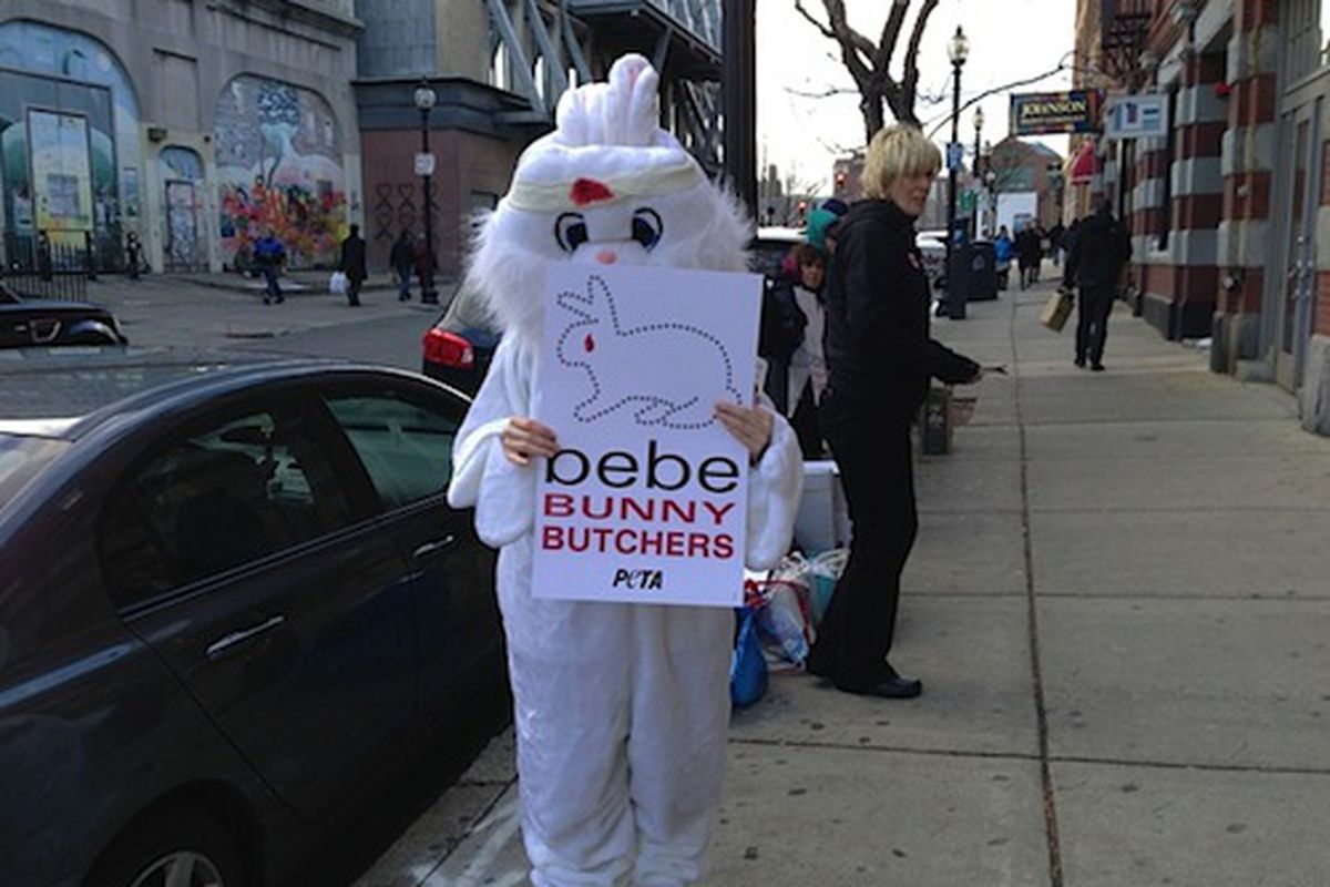 """PETA protester from December's rally via <a href=""""http://bostinno.com/2013/01/24/bunny-butchers-peta-giant-wounded-rabbit-to-stage-anti-fur-protest-friday-outside-bebe-newbury-st/#ss__288192_1_6__ss"""">BostInno</a>"""