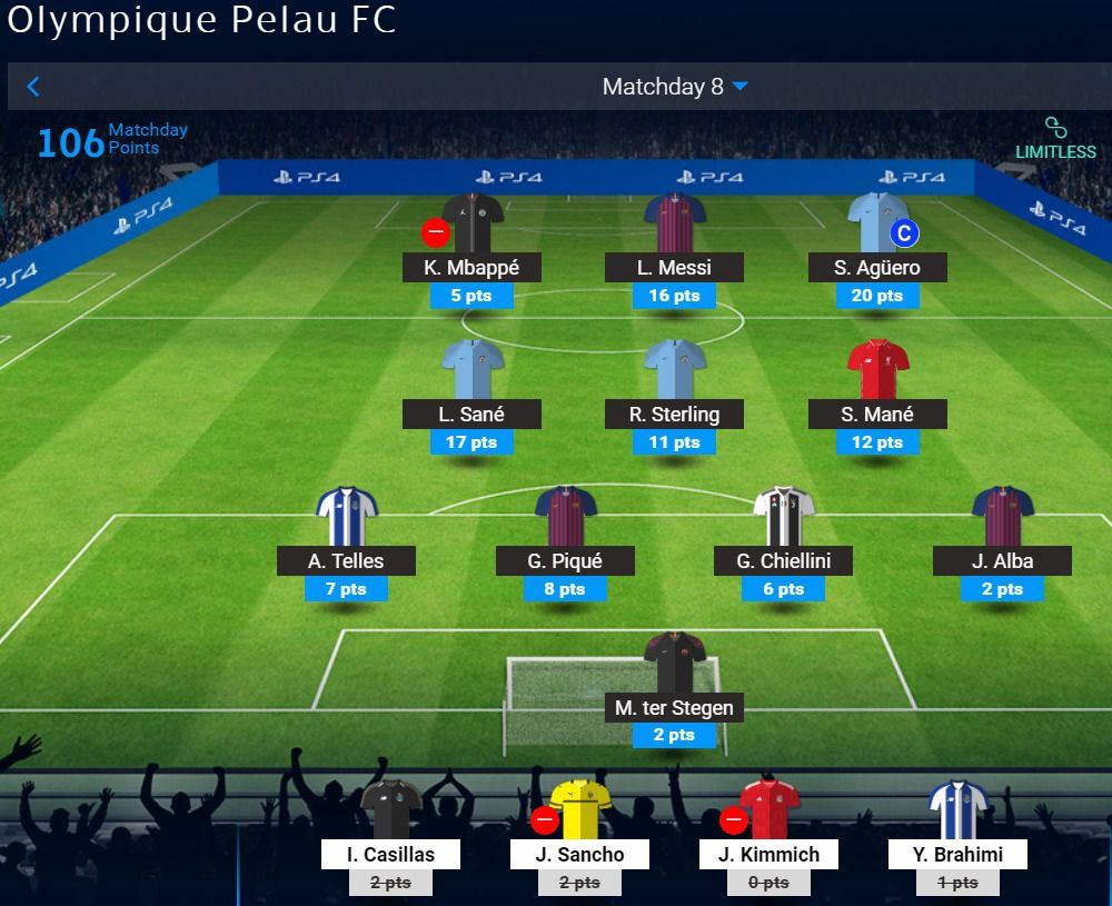 Omar's Matchday 8 UCL Fantasy Team