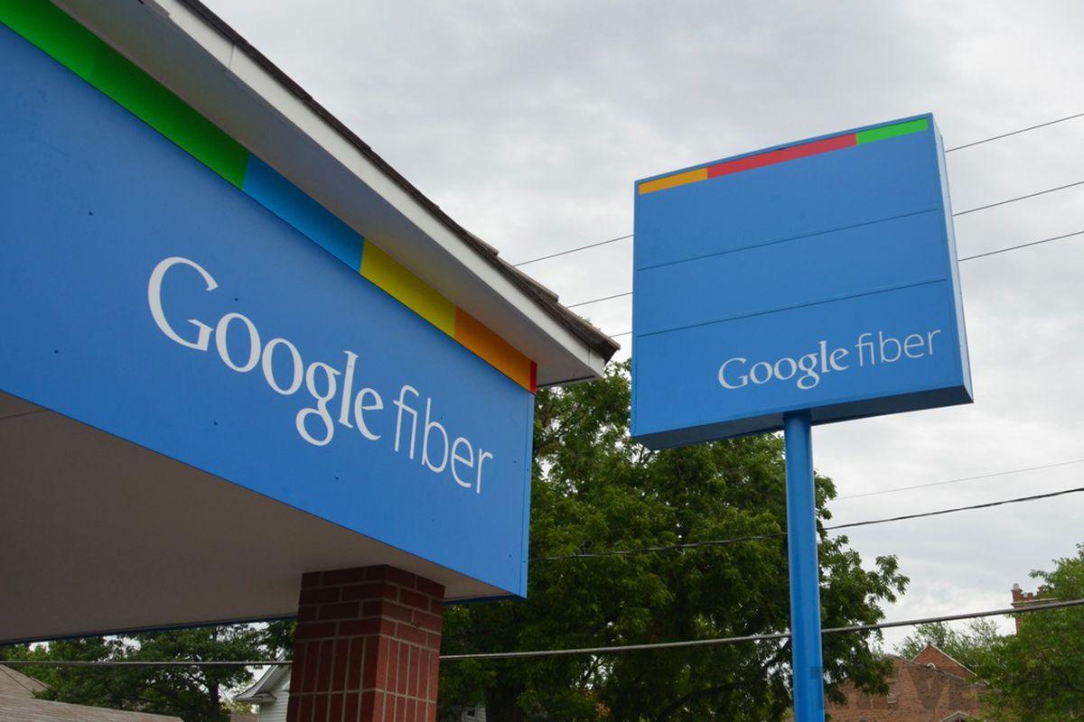 Google Fiber sign stock