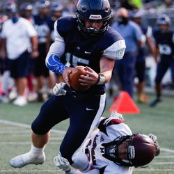 Juan Diego takes on Morgan during a high school football game at Juan Diego Catholic High School in Draper on Friday, Oct. 2, 2020.