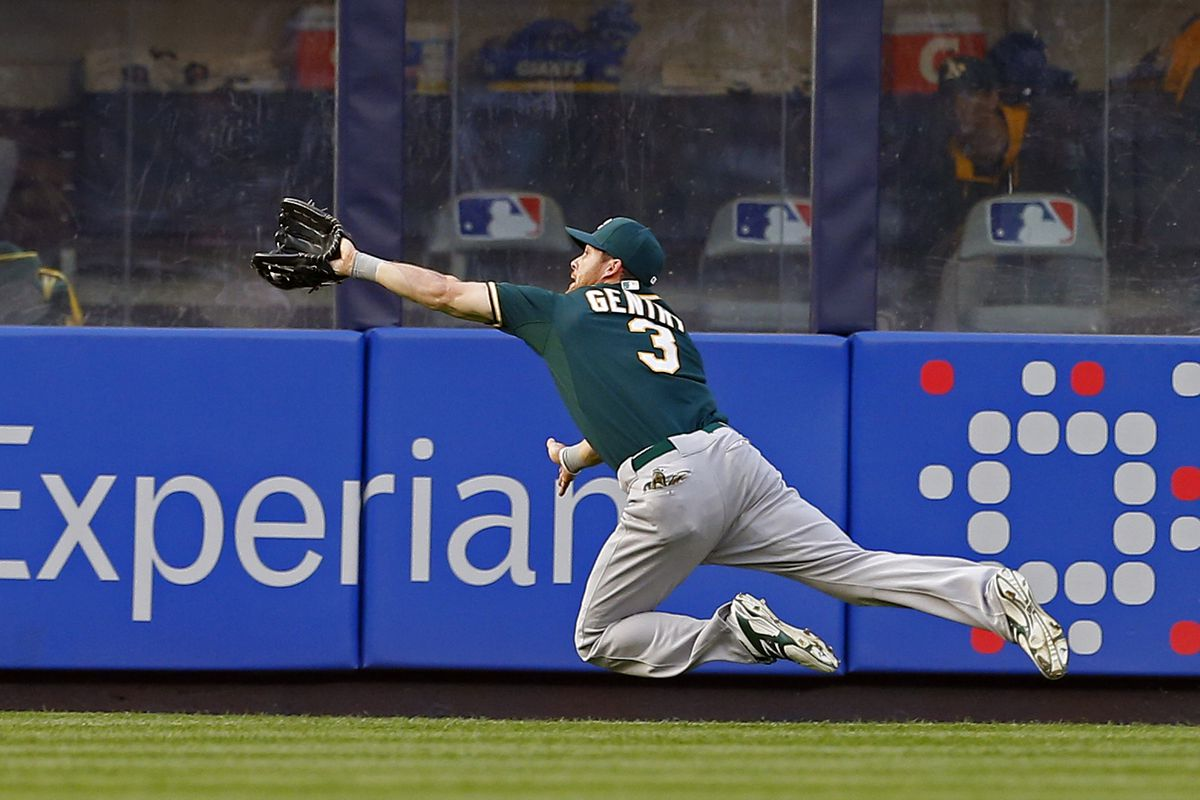 Gentry used his kitten-like reflexes to make many impressive catches in the outfield.