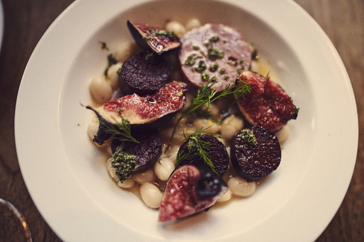 Figs, beans, and blood sausage at Michelin-starred Shoreditch restaurant Brat