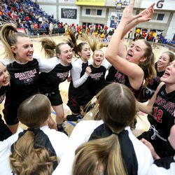 Grantsville Cowboys team cheers together ahead of the 3A girls basketball semifinals against the Judge Memorial Bulldogs at the Lifetime Activities Center in Taylorsville on Friday, Feb. 21, 2020.