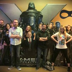"""Members of the Utah Graphic Novel Book Club pose together after a field trip to see """"Batman v Superman: Dawn of Justice."""""""