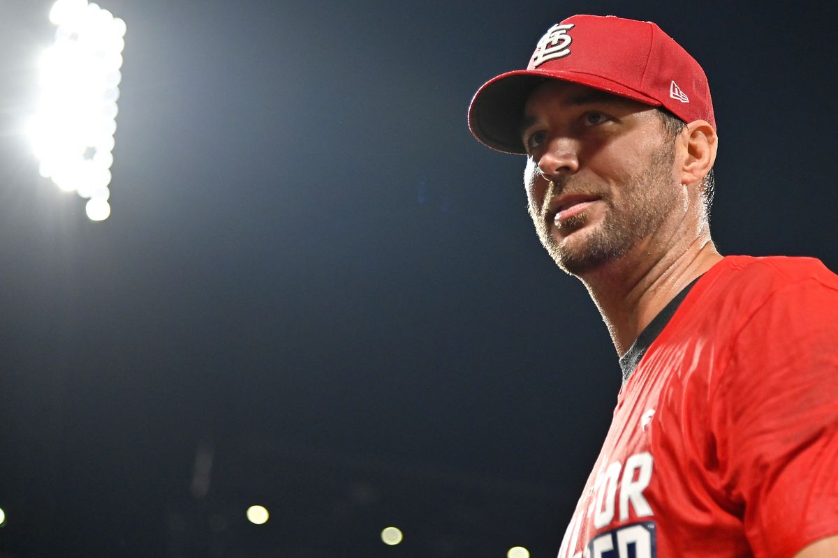 St. Louis Cardinals starting pitcher Adam Wainwright (50) looks on after the Cardinals defeated the Milwaukee Brewers winning their 17th straight game and clinching a wild card spot in the postseason at Busch Stadium.