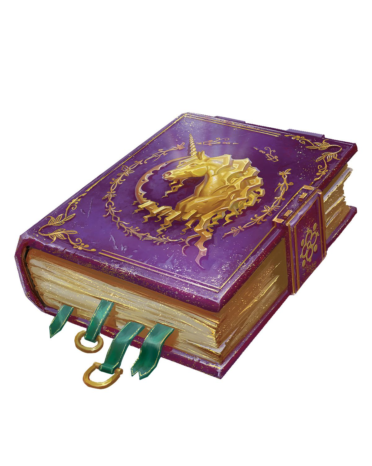 A purple book embellished with the profile of a golden unicorn.