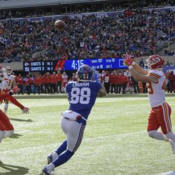 Kansas City Chiefs strong safety Daniel Sorensen (49) intercepts a pass to New York Giants' Evan Engram (88) during the first half of an NFL football game Sunday, Nov. 19, 2017, in East Rutherford, N.J. (AP Photo/Bill Kostroun)