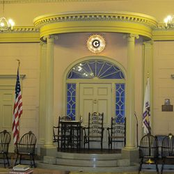 The Colonial lodge room evokes an early American feel.  (Lee Benson/Deseret News)