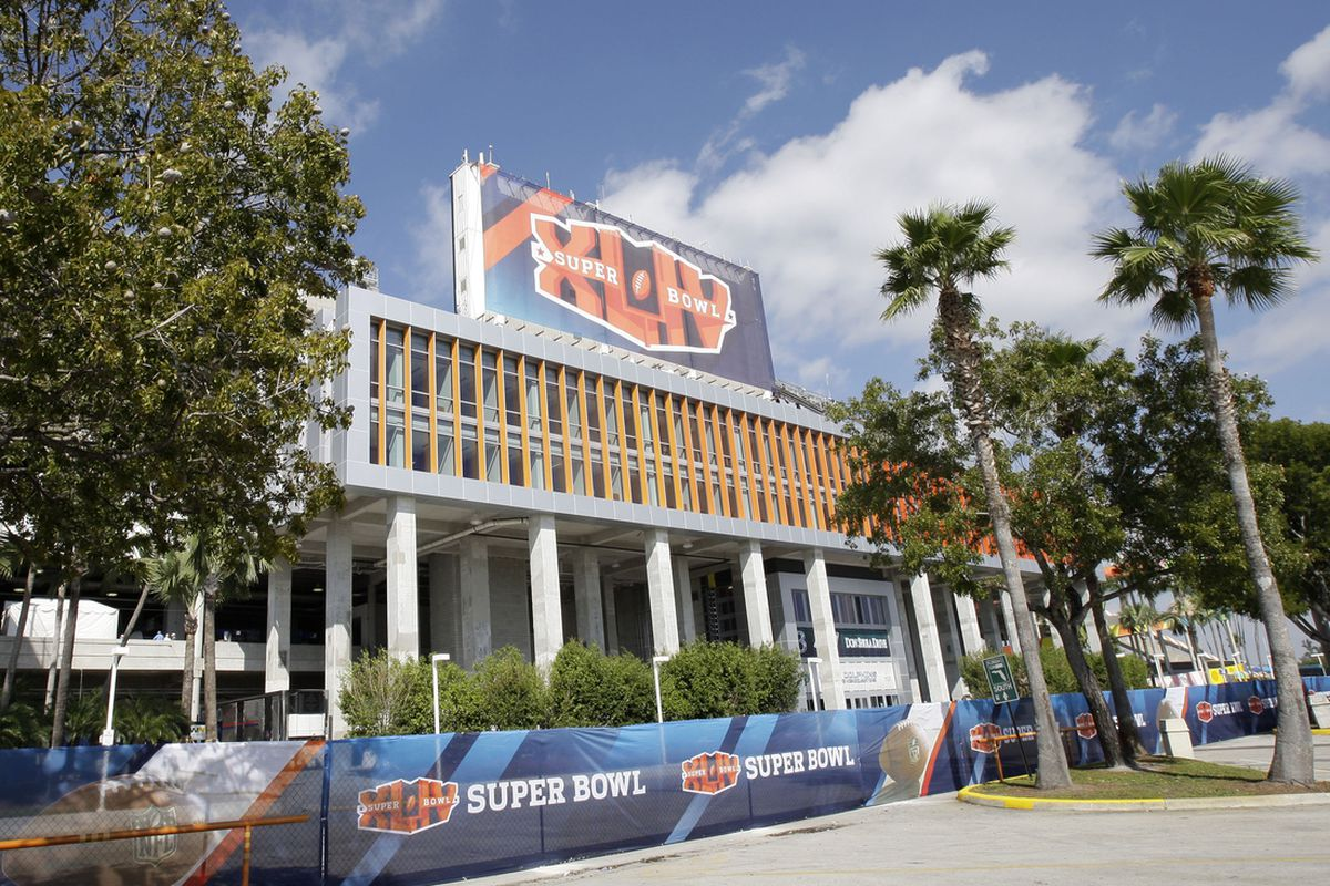 Feb 7, 2010; Miami, FL, USA; Exterior view of Sun Life Stadium before Super Bowl XLIV between the Indianapolis Colts and the New Orleans Saints. Mandatory Credit: Jeff Hanisch-USA TODAY Sports