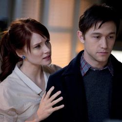"""This publicity film still released by Summit Entertainment shows Bryce Dallas Howard, left, and Joseph Gordon-Levitt, in a scene from the movie """"50/50."""""""
