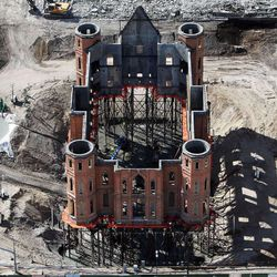 The stilts on which the skeleton of the burned-out Provo Tabernacle sat as its transformation to use as an LDS temple was in its early stages back on March 12, 2013.