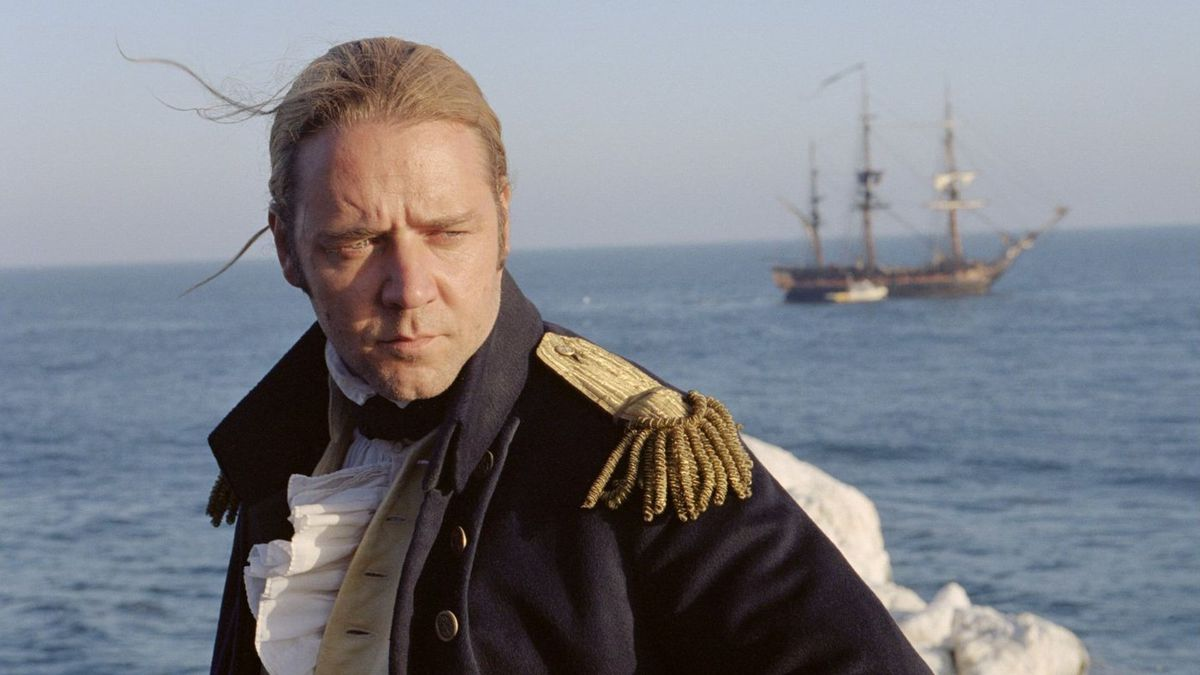 Russell Crowe gazing at the sea in Master and Commander: The Far Side of the World