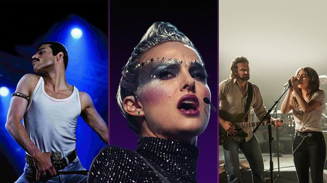 Freddie Mercury (Rami Malek) in <em>Bohemian Rhapsody</em>; Celeste (Natalie Portman) in <em>Vox Lux</em>; Jackson Maine (Bradley Cooper) and Ally Campana (Lady Gaga) in <em>A Star Is Born</em>.