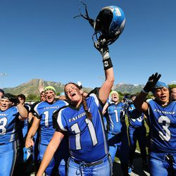 Utah Falconz Shannon Gabbia celebrates the win over the Colorado Freeze in Murray on June 13, 2015. The Falconz compete in a women's tackle football league.