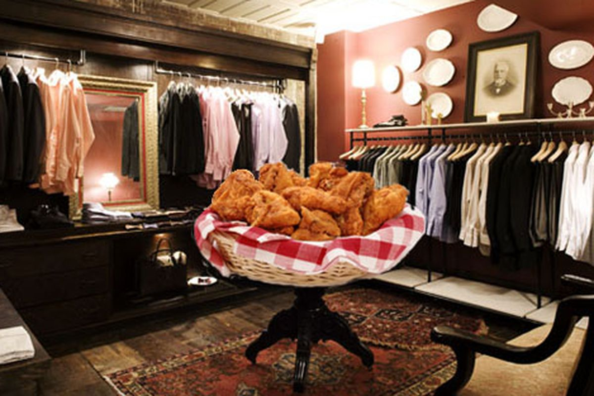 """Image, sans chicken basket, via <a href=""""http://nymag.com/listings/stores/billy-reid/"""">NYMag</a>"""