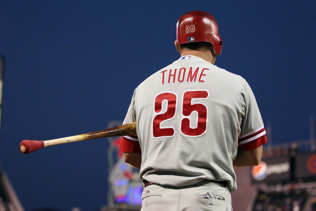 June 12, 2012; Minneapolis, MN, USA: Philadelphia Phillies designated hitter Jim Thome (25) in the on deck circle during the sixth inning against the Minnesota Twins at Target Field. The Twins won 11-7. Mandatory Credit: Jesse Johnson-US PRESSWIRE