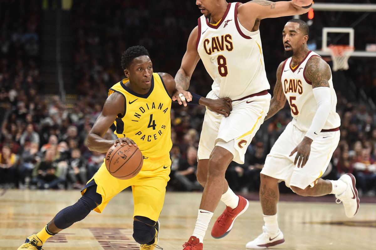 b3d3f5a72 Indiana Pacers guard Victor Oladipo (4) moves to the basket against Cleveland  Cavaliers forward Channing Frye (8) during the first half at Quicken Loans  ...