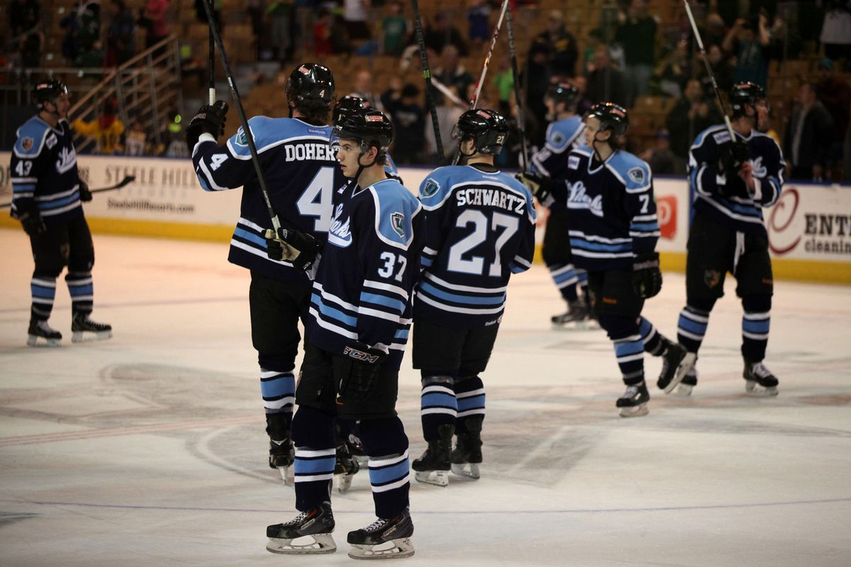 The Worcester Sharks salute the DCU Center home crowd after defeating the Manchester Monarchs 5-1 Sunday afternoon for their sixth straight win.