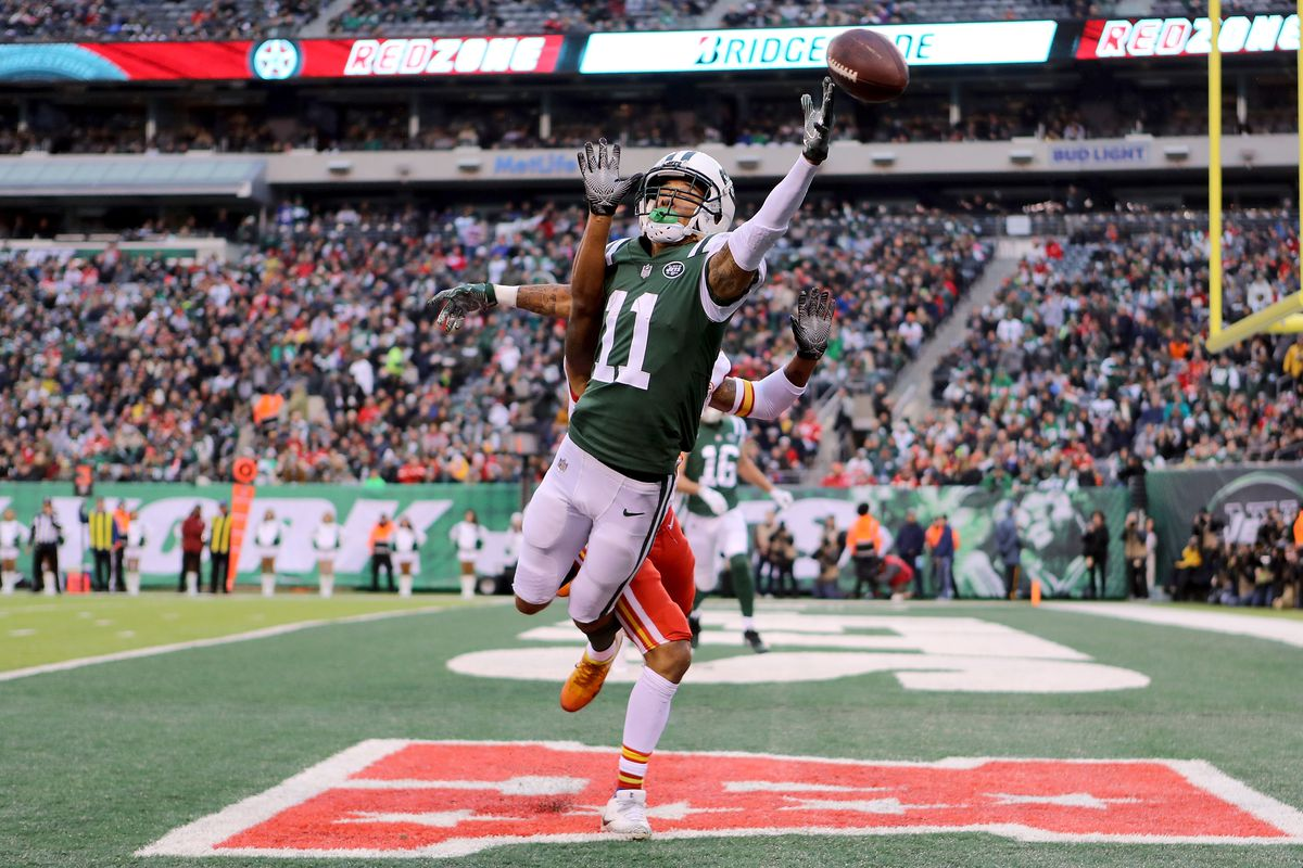 New York Jets wide receiver Robby Anderson reaches for what would be an incomplete pass against the Kansas City Chiefs at MetLife Stadium.