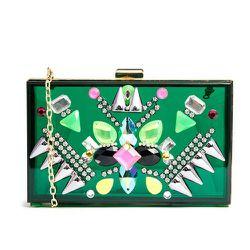 """<b>Skinnydip</b> Embellished Box Clutch in Green, <a href=""""http://us.asos.com/Skinnydip-Embellished-Box-Clutch-in-Green/1250wo/?iid=3798025&SearchQuery=green&Rf-700=1000&Rf-800=-1,71&sh=0&pge=0&pgesize=36&sort=-1&clr=Green&mporgp=L1NraW5ueS1EaXAvU2tpbm55Z"""