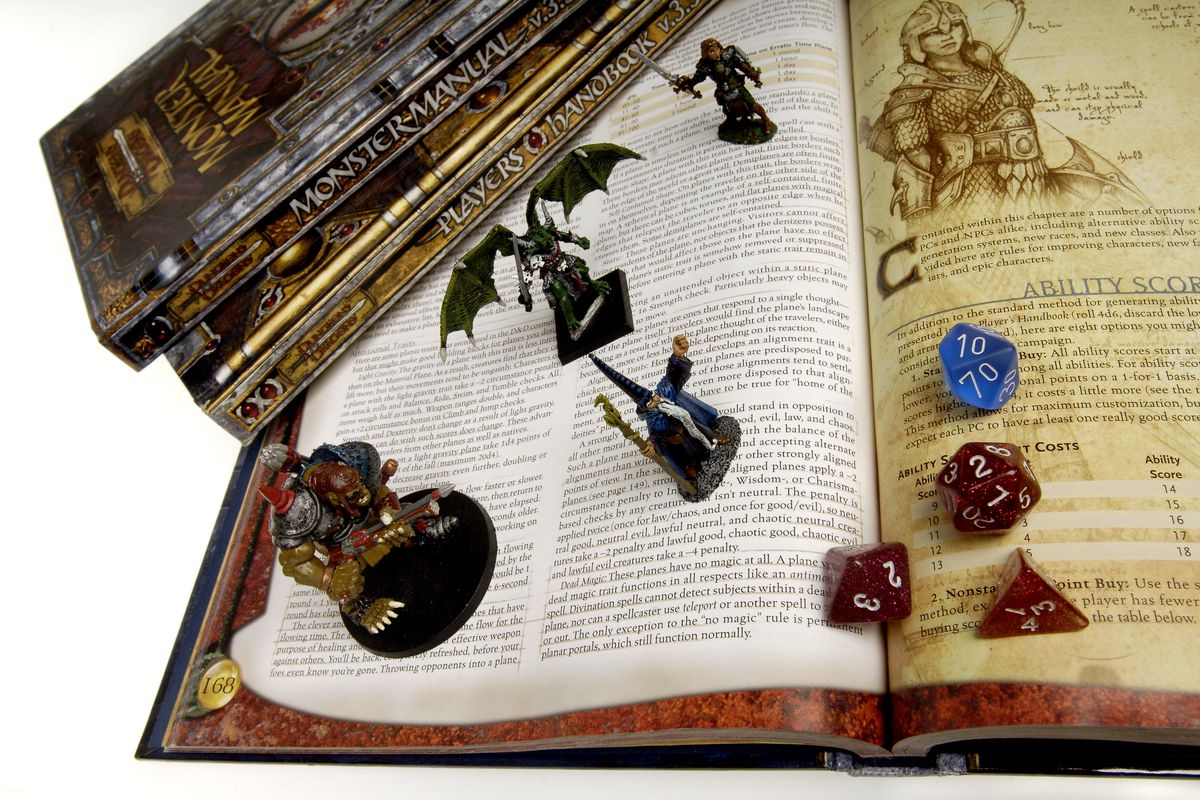 Books, die, figurines from Dungeons and Dragons