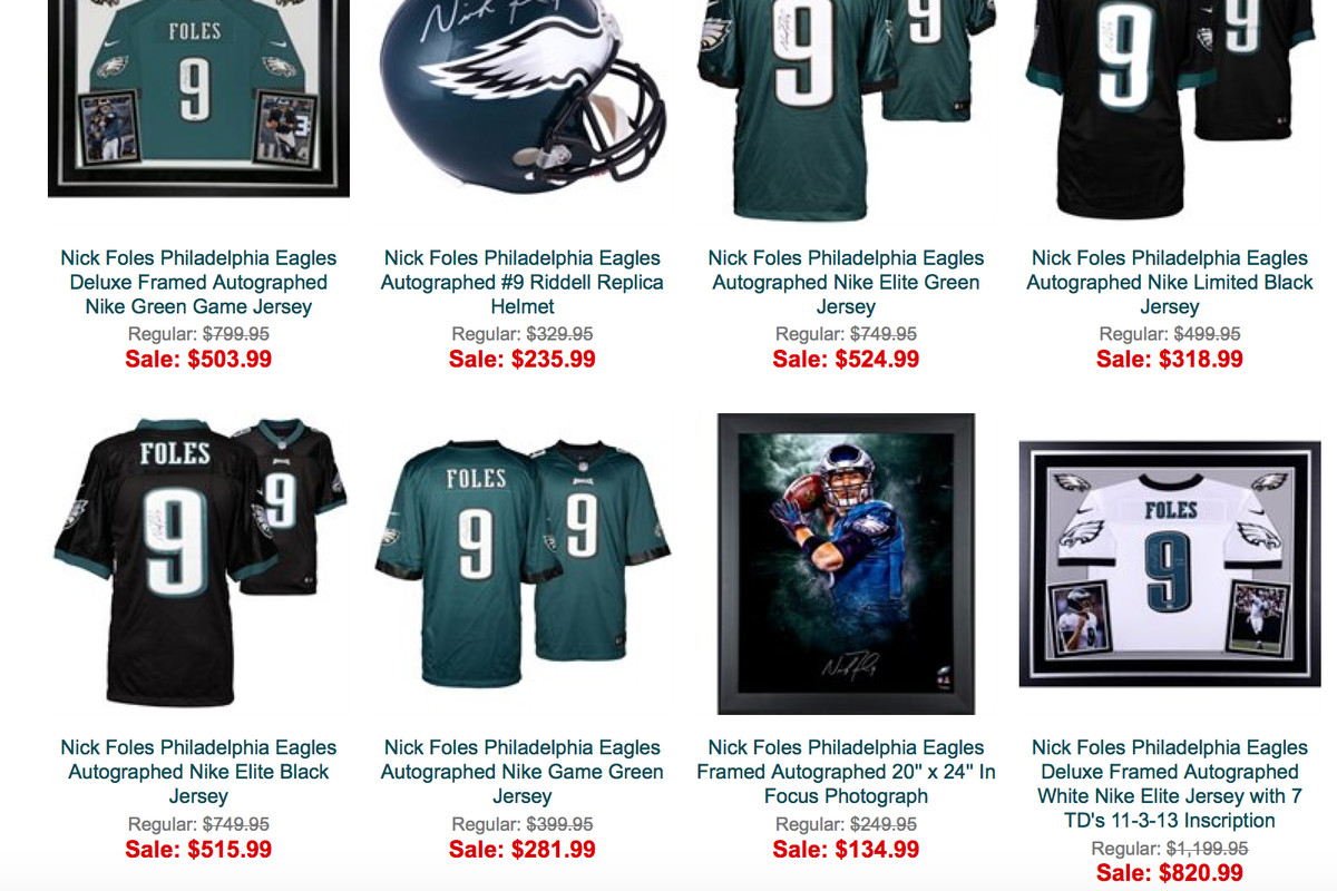 best sneakers 315ba 7b0c6 Why is all Nick Foles autographed merchandise on sale at the ...