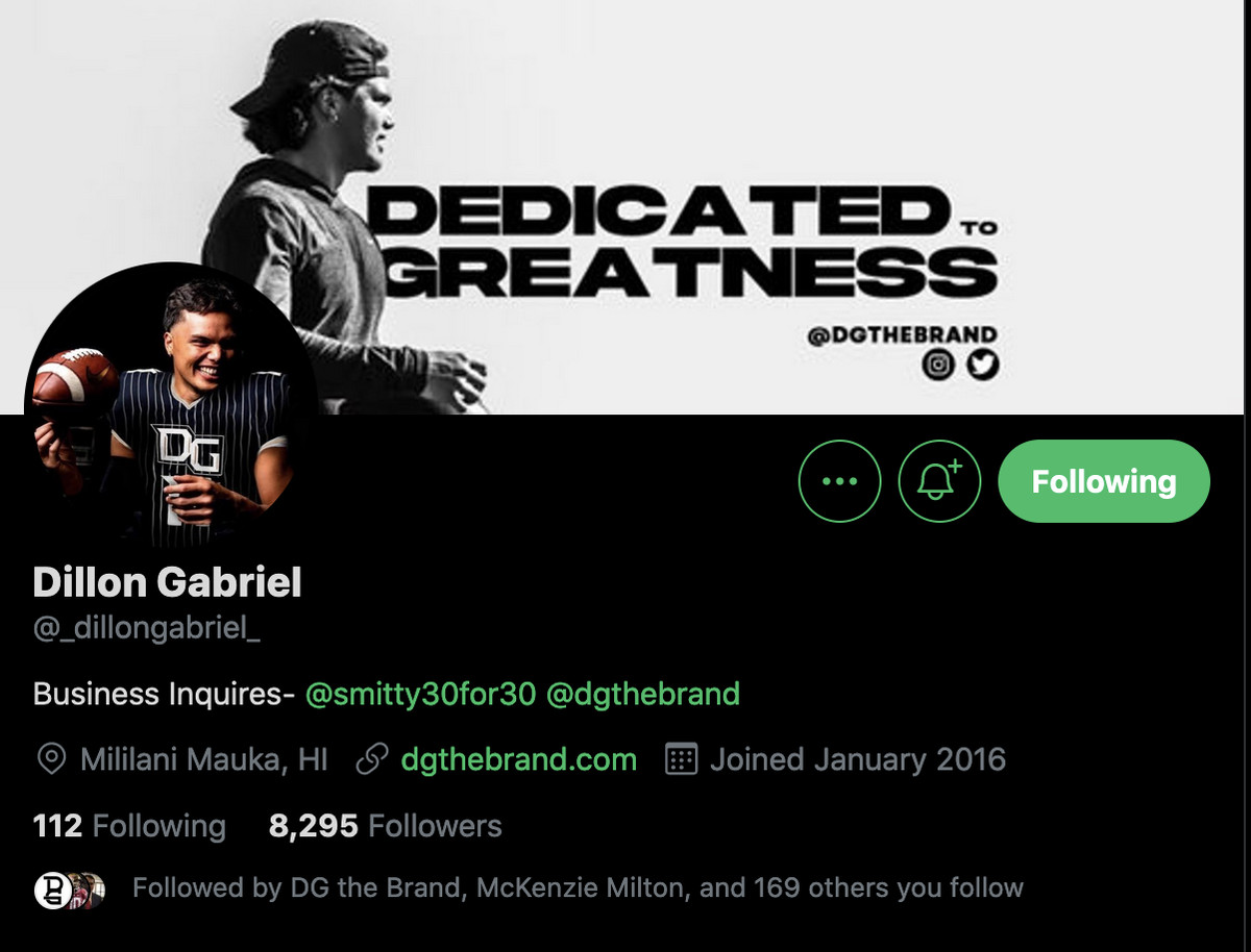 Dillon Gabriel Twitter