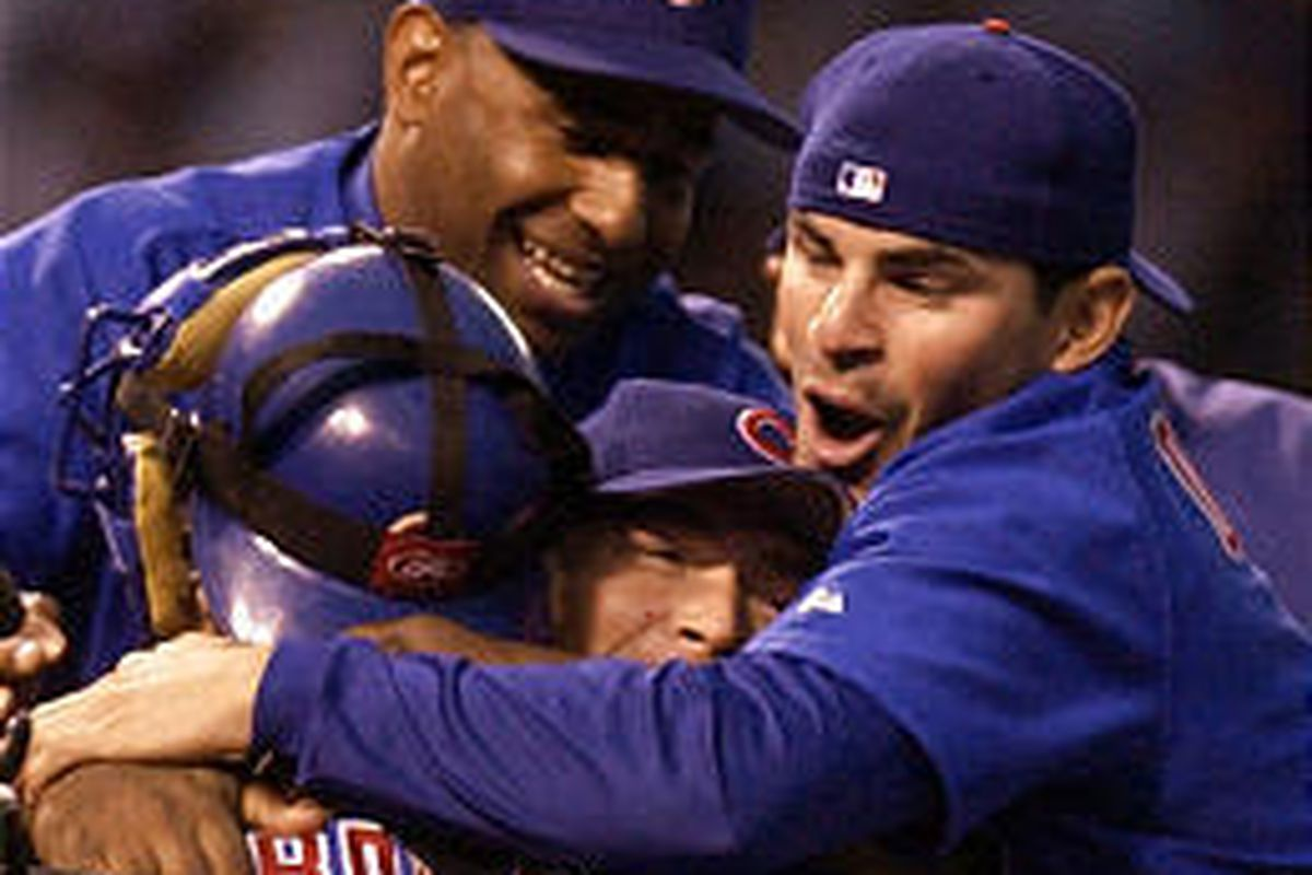 Chicago Cubs celebrate Saturday after clinching the National League Central Division Championship.