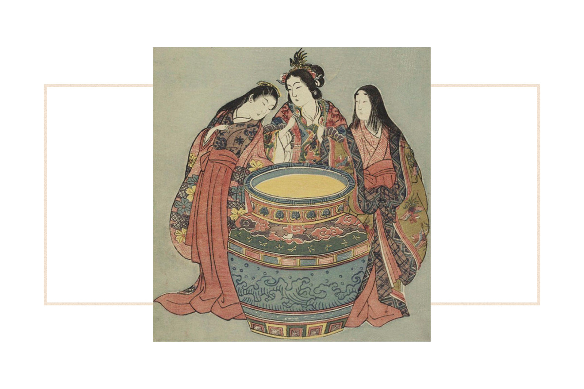 A photo montage showing a historical painting of three women around a vat of kombucha.