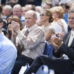 Attendees applaud the choir during the groundbreaking ceremony for a new engineering building at BYU in Provo on Monday, May 9, 2016. The new building was entirely funded by donors.