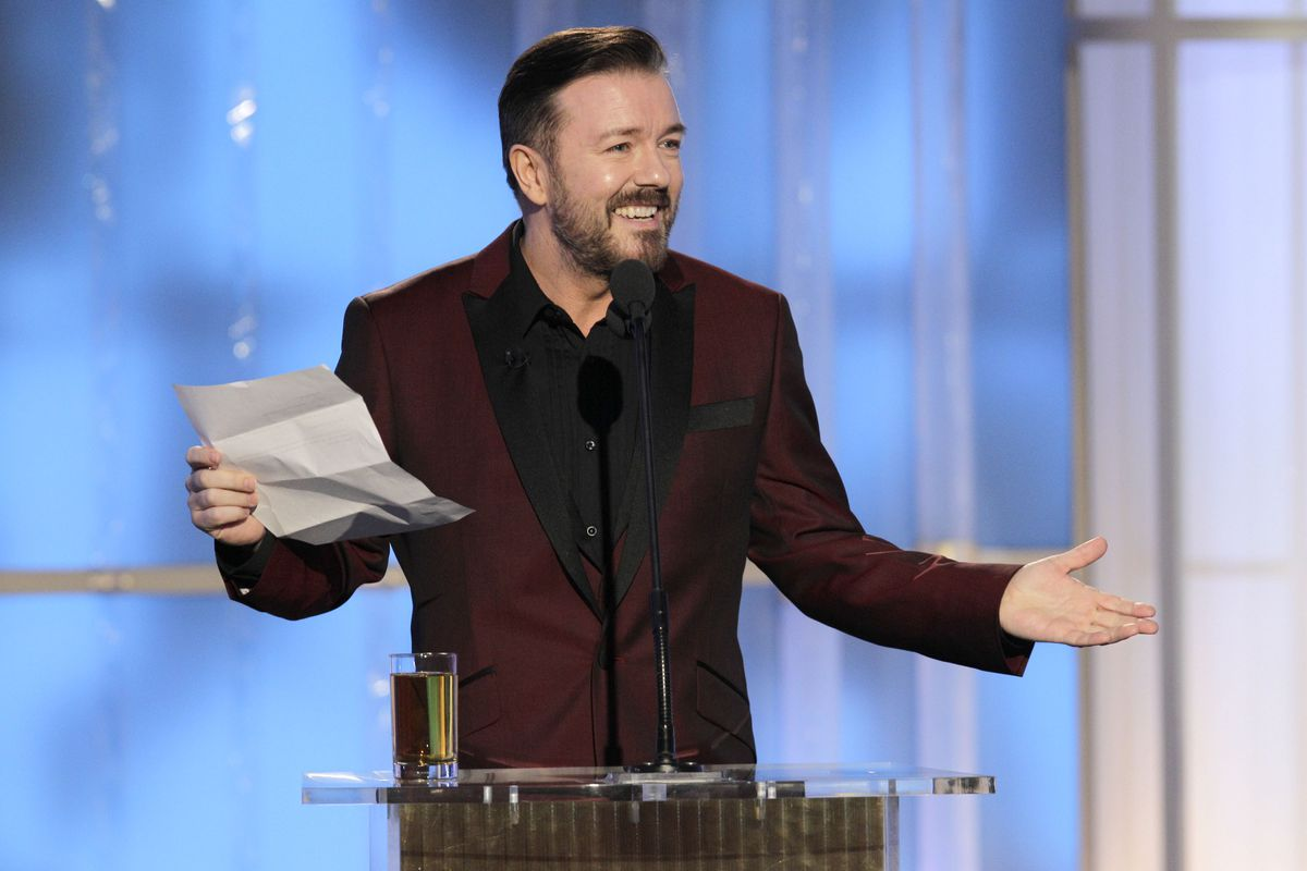 Ricky Gervais, hosting the 69th Golden Globes in 2011.
