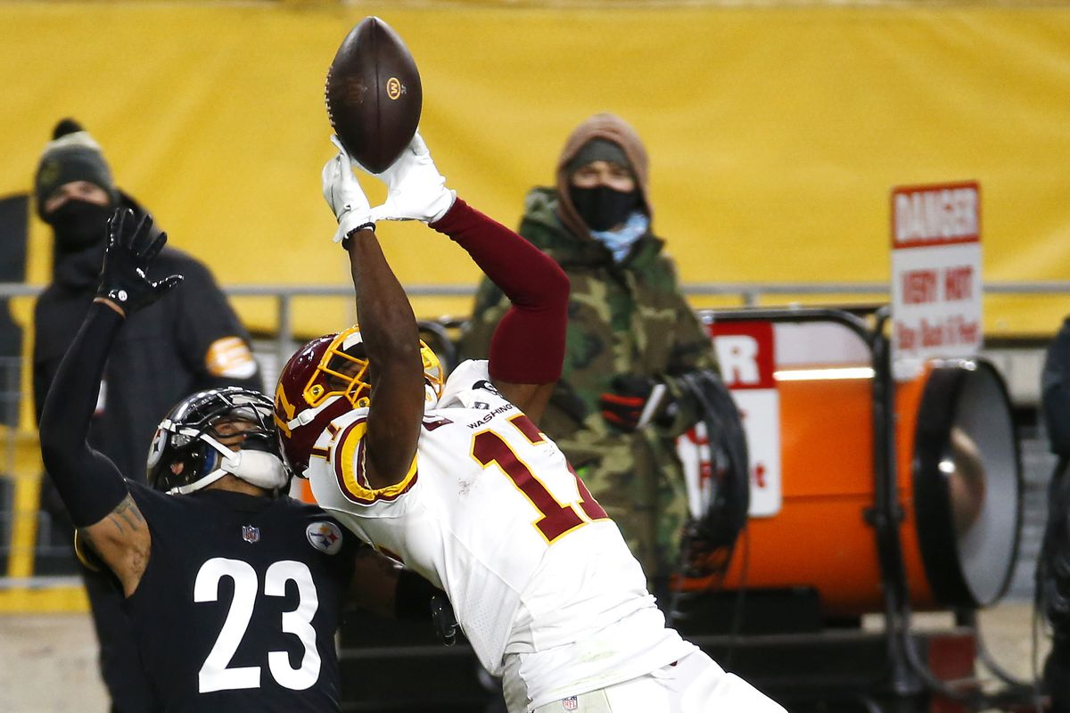 Terry McLaurin #17 of the Washington Football Team attempts to catch a pass against Joe Haden #23 of the Pittsburgh Steelers during the second quarter of their game at Heinz Field on December 07, 2020 in Pittsburgh, Pennsylvania.