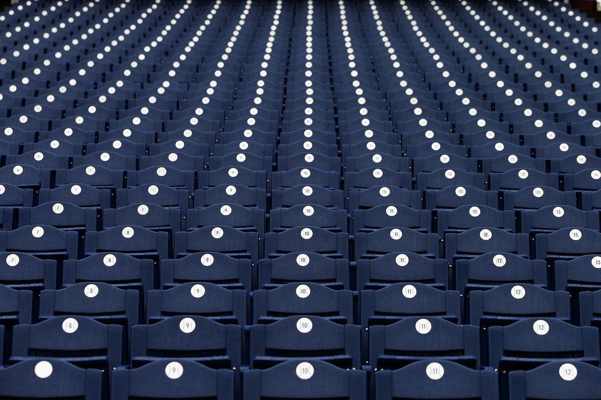 Blue seats.  Lots of them.