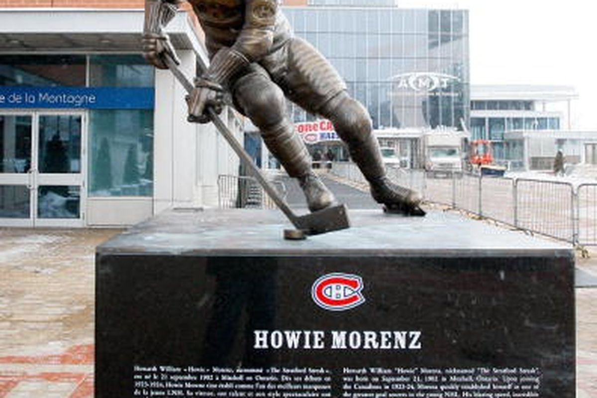 """The Howie Morenz  statue outside Bell Centre in Montreal.  via <a href=""""http://view2.picapp.com/pictures.photo/image/3655764/2009-montreal-all-star/2009-montreal-all-star.jpg?size=396&imageId=3655764"""">view2.picapp.com</a>"""