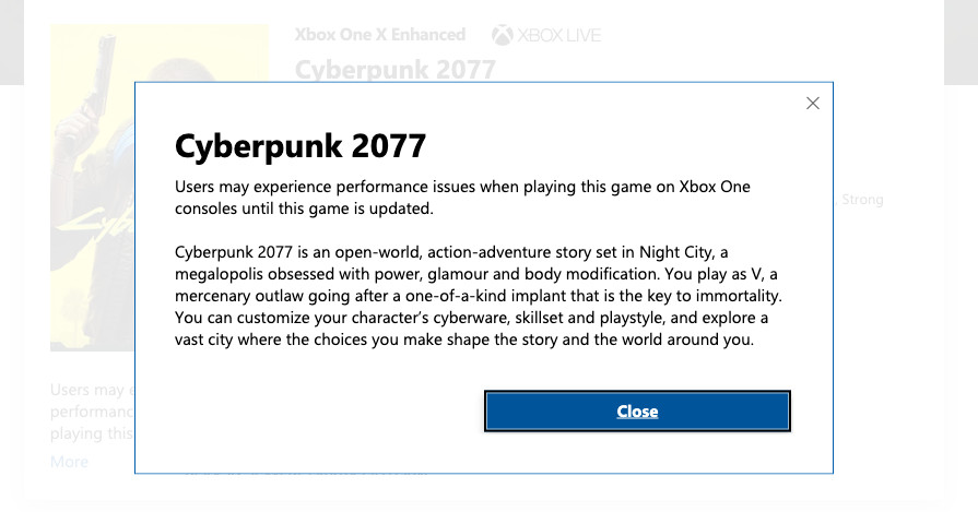 Cyberpunk 2077's Microsoft store listing now has a warning for bugs thumbnail
