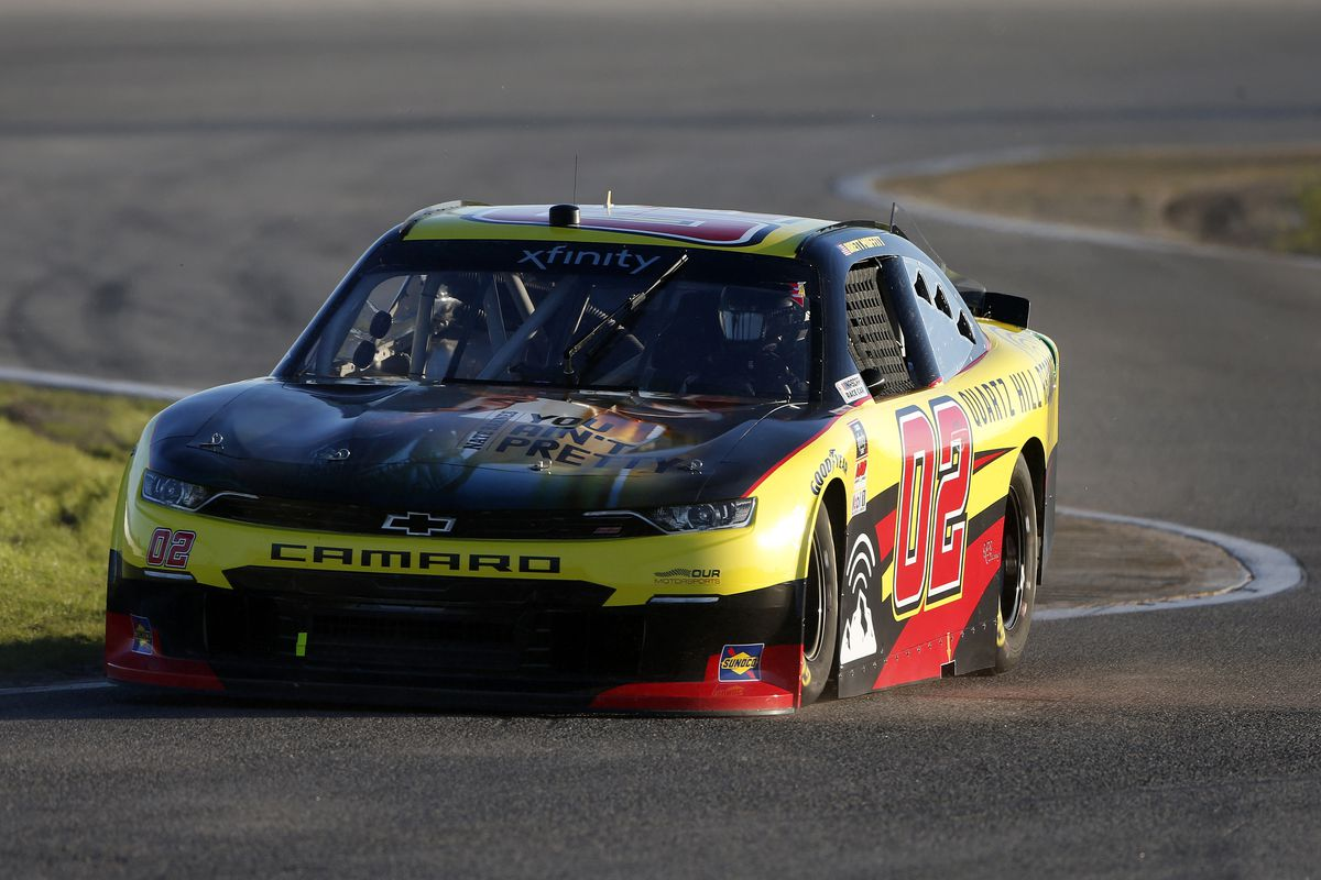 Brett Moffitt, driver of the #02 Quartz Hill Records Chevrolet, drives during the NASCAR Xfinity Super Start Batteries 188 At Daytona Presented by O'Reilly at Daytona International Speedway on February 20, 2021 in Daytona Beach, Florida.
