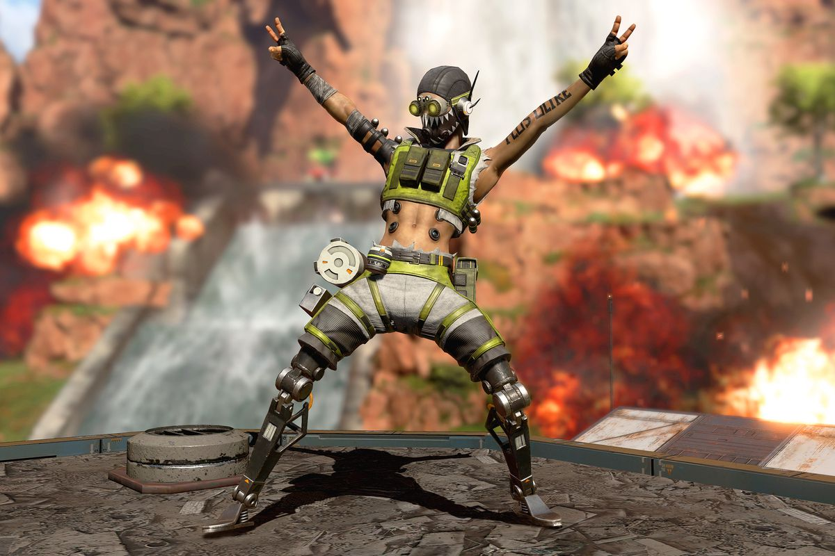 Octane celebrating in Apex Legends as explosions go off behind him