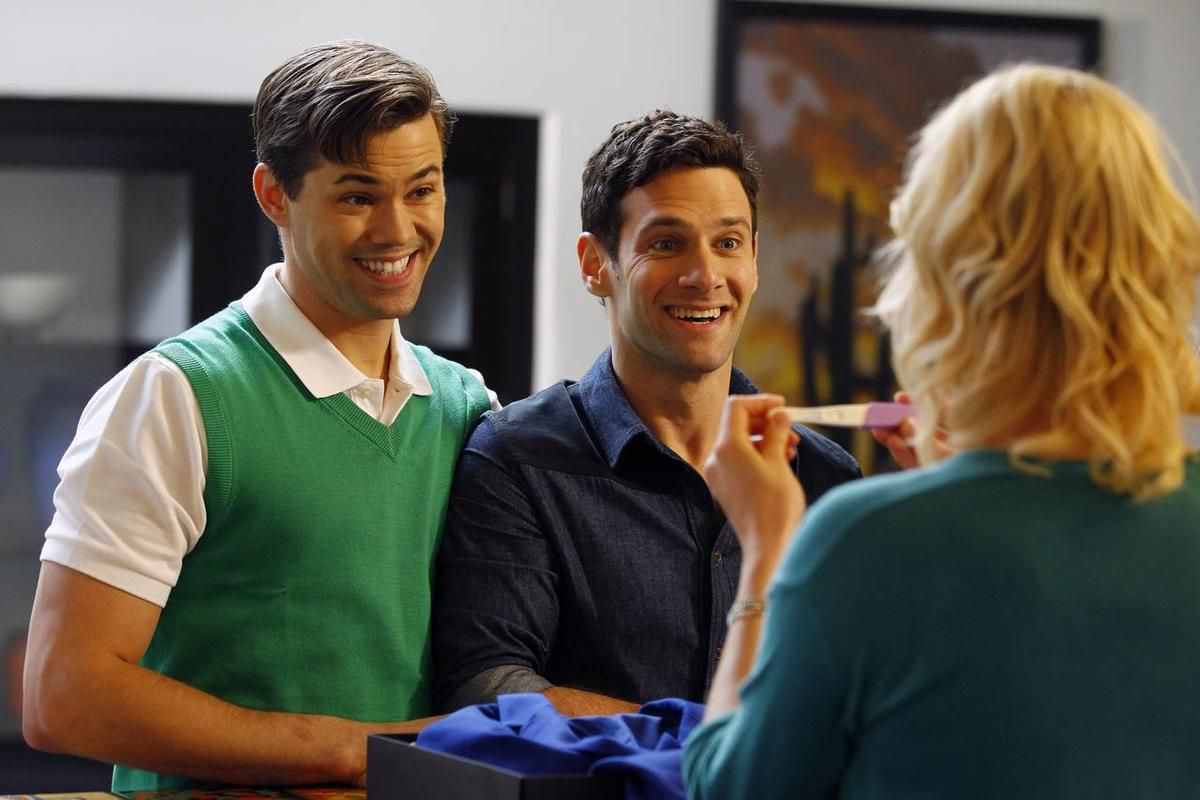 """This image released by NBC shows Andrew Rannells as Bryan, left, and Justin Bartha as David in a scene from \""""The New Normal,\"""" premiering Sept. 11, 2012 at 9:30p.m. EST on NBC."""