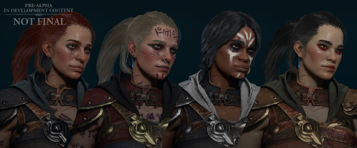 Four versions of the Diablo 4 Rogue with different skin and hair colors and facial markings