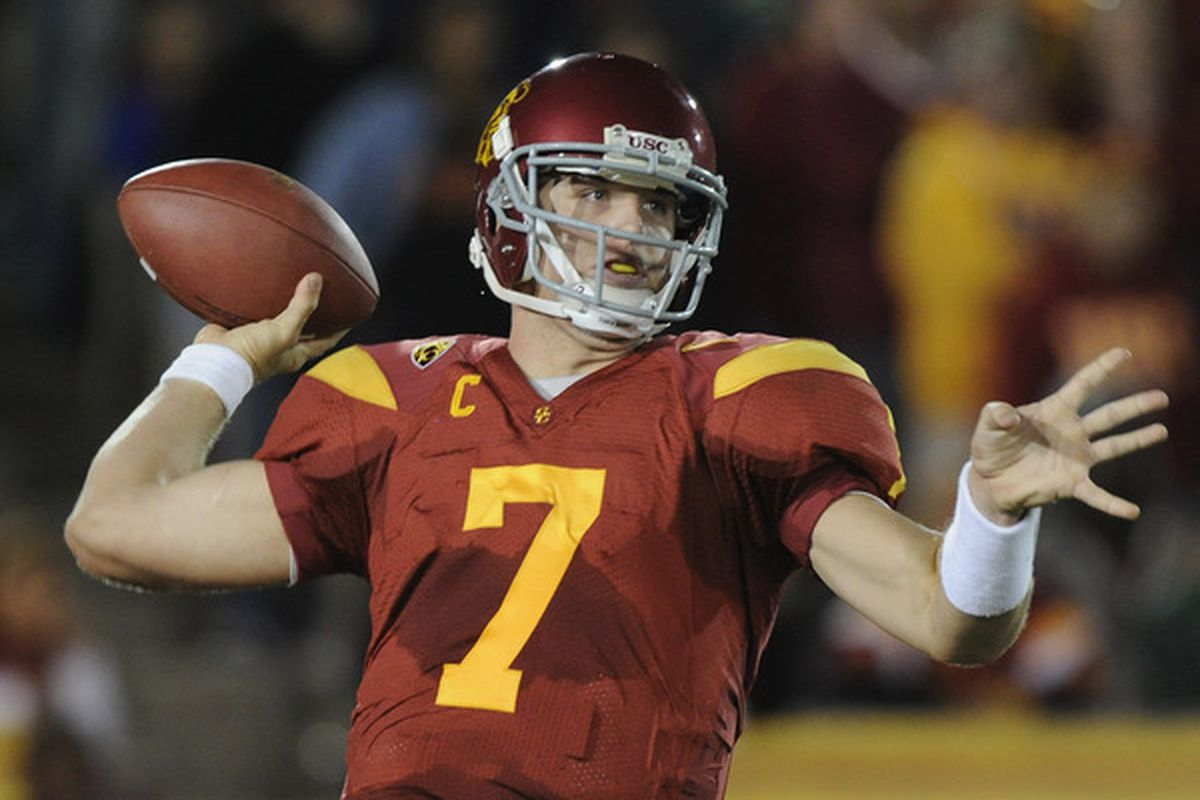 LOS ANGELES CA - OCTOBER 30: Matt Barkley #7 of the USC Trojans passes in the pocket against the Oregon Ducks during the second quarter at Los Angeles Memorial Coliseum on October 30 2010 in Los Angeles California.  (Photo by Harry How/Getty Images)
