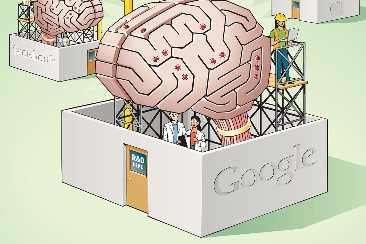 Doug Griswold illustration of artifical brains the tech giants are racing to develop. (Bay Area News Group/MCT via Getty Images)