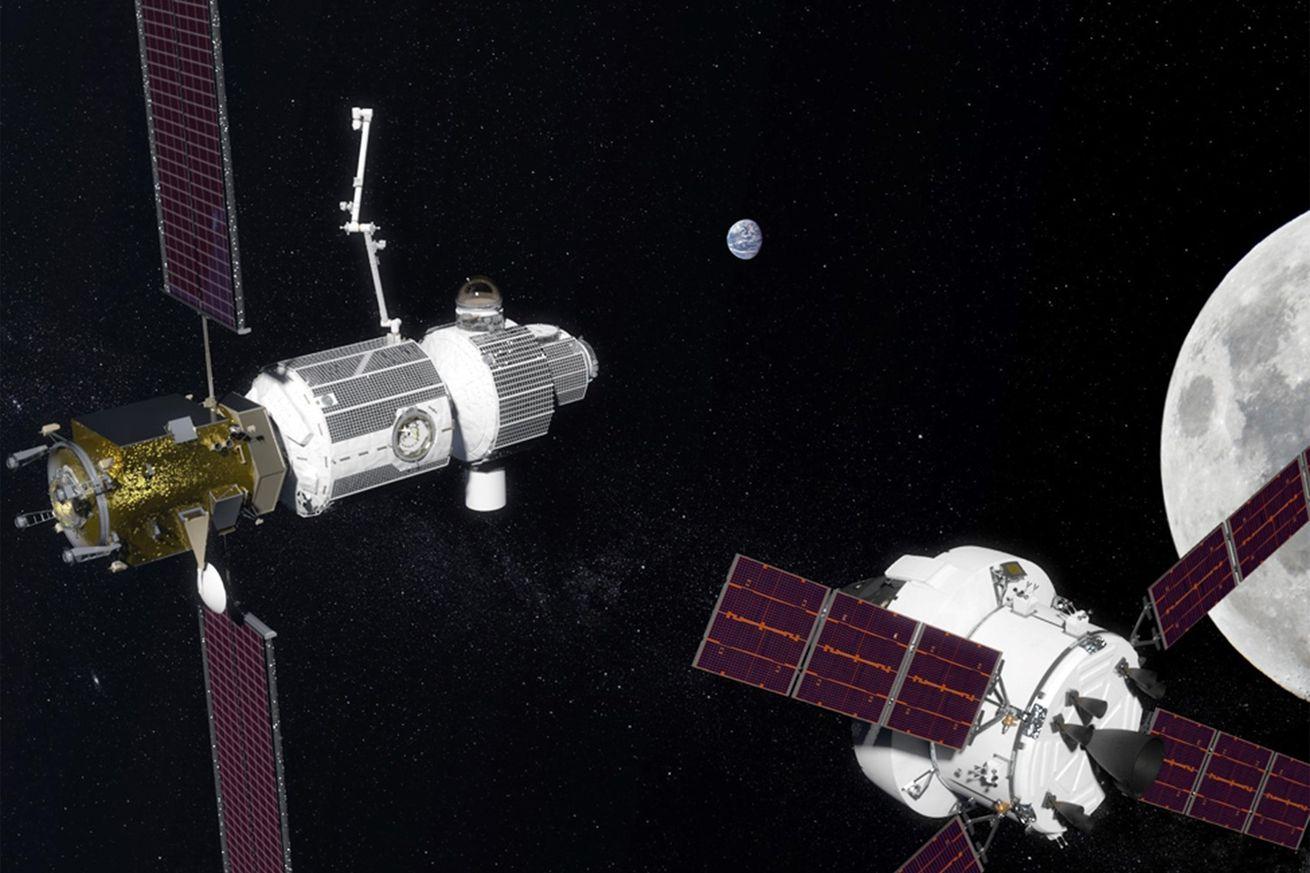 An artistic rendering of NASA's future lunar Gateway