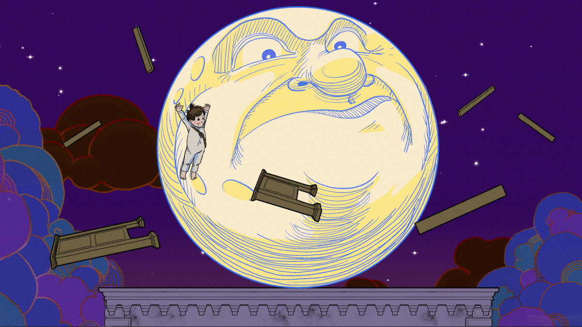 A large moon with an angry, disapproving face and a child flying in front of it in Little Nemo and the Nightmare Fiends