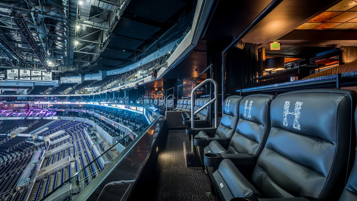 Leather seats look out over Staples Center.